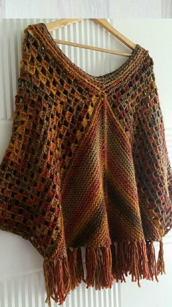 María Cielo Crochet Inspiración Poncho Ponchos Crochet Patrones Ganchillo Ropa Poncho De Ganchillo