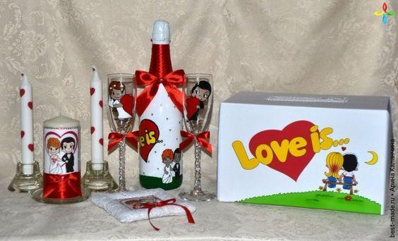 """Свадебные аксессуары в стиле """"Love is"""",   Bestmade - изделия ручной работы"""