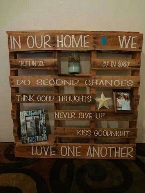 Use wood pallets to create a shelving unit like this. What a great idea!