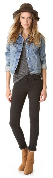 rag and bone, black skinny jeans, jean jacket, all denim - Want to save 50% - 90% on women's fashion? Visit http://www.ilovesavingcash.com