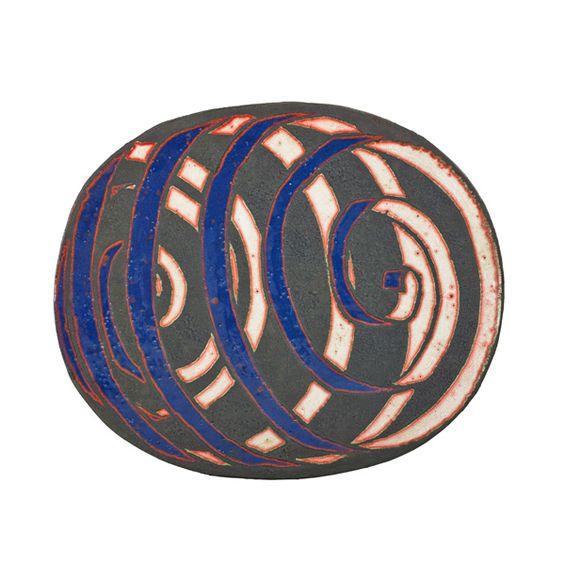 "JUN KANEKOLarge glazed earthenware charger, USA, 1987Signed and dated3"" x 25"" x 20 1/2"""