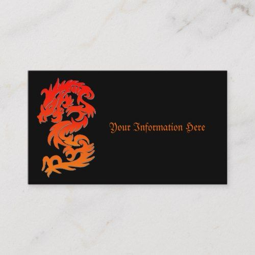 Chinese Dragon Fire Business Card Zazzle Com Chinese Business Card Fire Dragon Business Card Template Design