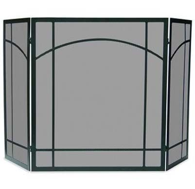 Home Screens Screen Doors Uniflame 3 Fold Black Wrought Iron Mission Screen S 1023 Fireplace Fireplace Accessories Stove Accessories