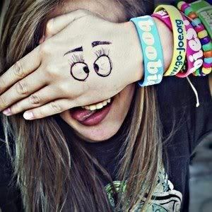 Here's a silly hand for a teen.......they're always writing on themselves!