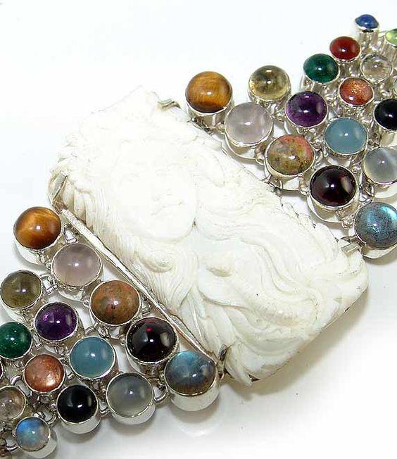 Carved Stone, Mix Cabochons bracelet by Sizzling Silver www.sizzlingsilver.com.