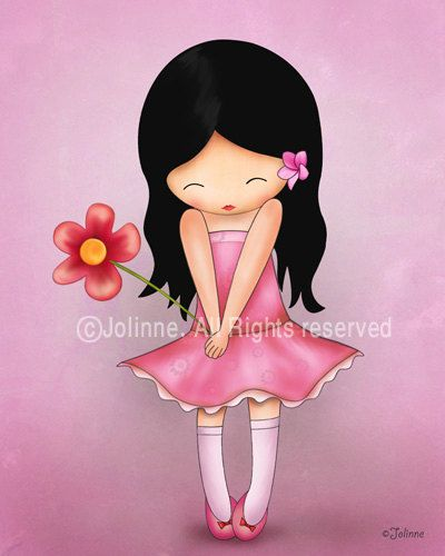 Girl wall art print pink room decor kids art decor by jolinne, $15.00: