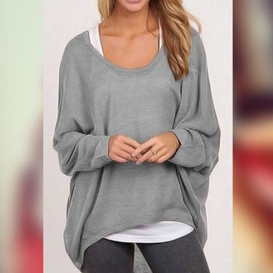 •GRAY Casual Long Sleeve Irregular Batwing Top! •GRAY Casual Long Sleeve Irregular Batwing Top!  Brand NEW with tags in packaging! •Will ship ASAP! ((See other listings for same top in: BLACK, WHITE, GRAY ! In sizes L, M, & Small)) ☺️ more pics available! •ADD 2 Bundle or PURCHASE THRU HERE!•• ❤️           ⚜Material: Cotton Blend  Collar: O-Neck Sleeve: Batwing Sleeve Style: Blouse Pattern: Solid Occasion: Casual.  SALE Comfy too!☺️ Tops