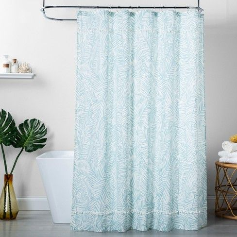 Caribbean Leaf Shower Curtain Aqua Opalhouse Bathroom Themes