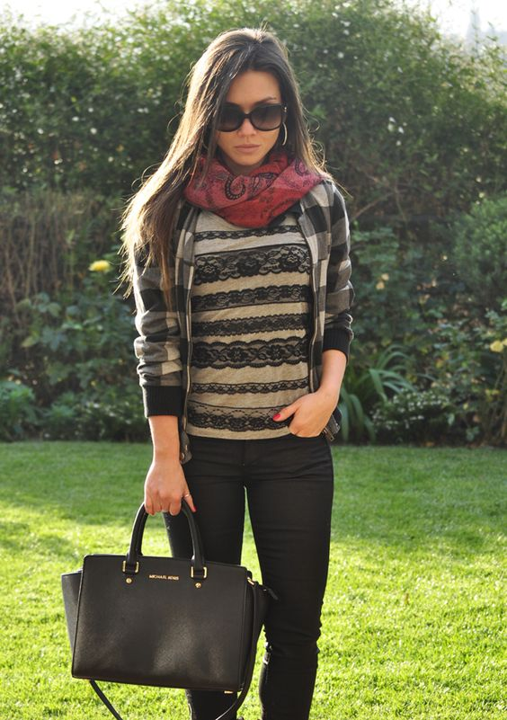Plaid and Lace, Michael Kors Selma Bag