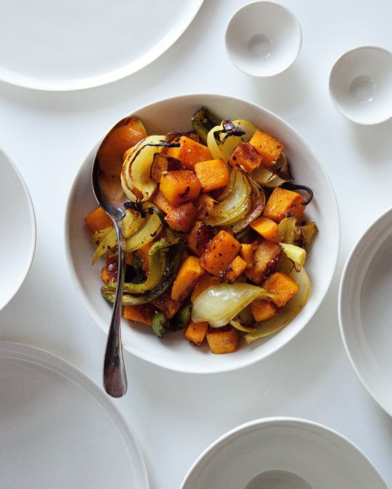 Spicy Curry Butternut Squash with Roasted Jalapeños / Matt Armendariz #paleo {this looks so delicious love the contrast with white plates}