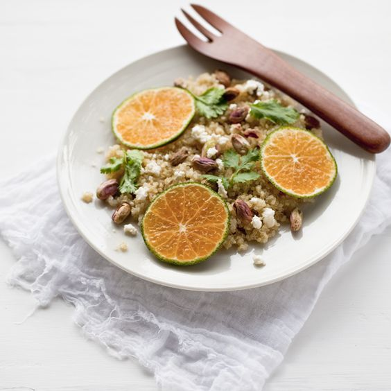 Spicy quinoa with tangerines, pistachios and herb puree.  Photo and recipe by Yummy Supper.