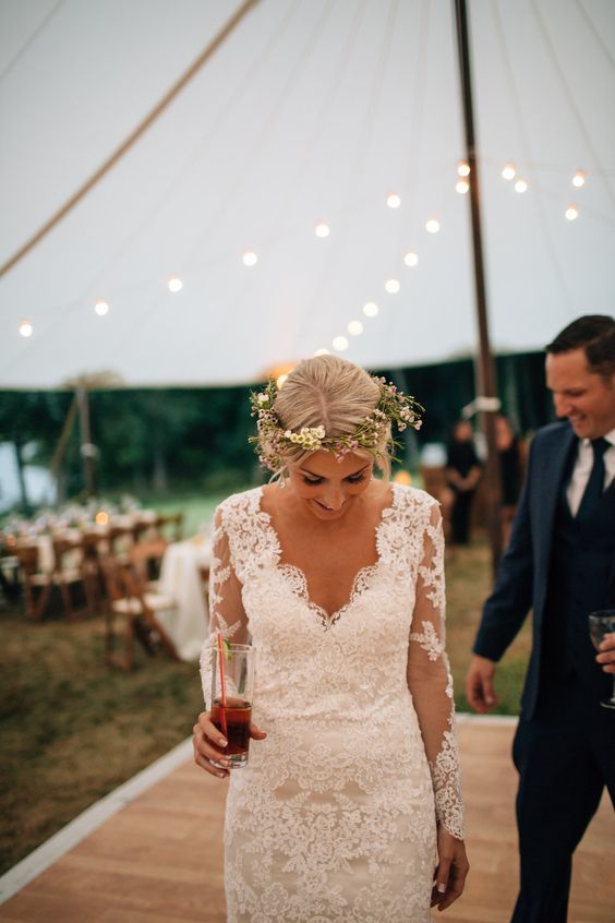 Maggie Bride Shannon wore Melanie with custom sleeves by Maggie Sottero at her classic and ethereal Hudson Valley wedding | The Melideos Photography