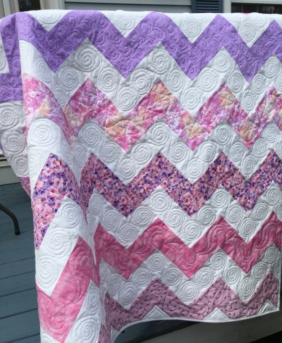 Pink and Purple Chevron Baby Quilt from http://www.HomeSewnByCarolyn.com:
