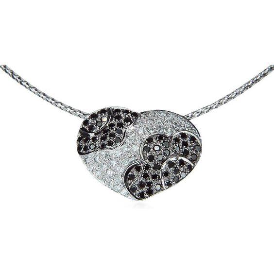 Diamant-Herz mit weißen und schwarzen Diamanten zus 0,72ct als Weissgold Gleiter #Halskette #diamantanhänger #schmuck #herz https://www.schmuck-boerse.com/index-gold-halsschmuck.htm