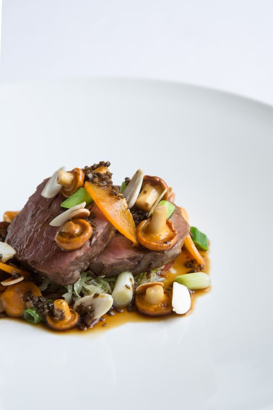 Veal fillet with girolles, apricots and truffle sauce by Russell Bateman