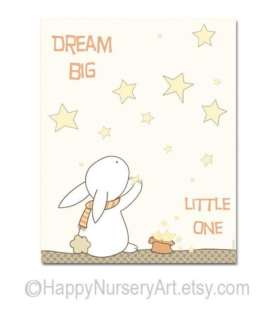Dream big little one nursery wall art unisex by HappyNurseryArt