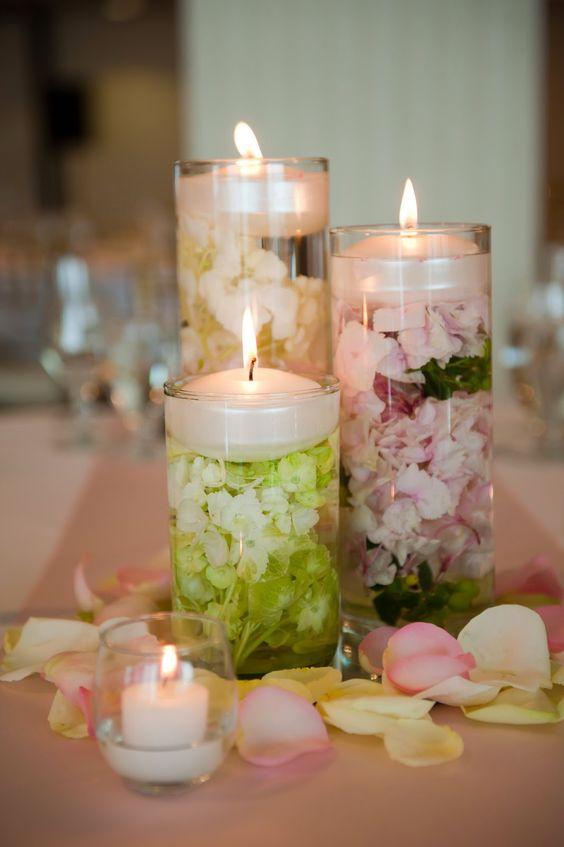 Flowers under candles wedding pinterest a well