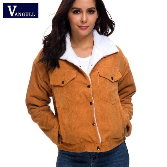 Women Faux Fur Coat Warm Corduroy Lined Long Sleeve Jacket Outwear Parka Casual