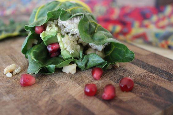 The Quinoa & Walnut Shitake Mushroom Pate Rainbow Chard Wrap. #vegan ...