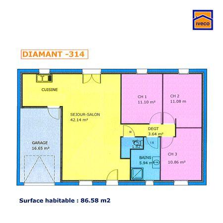 plan maison plain pied 3 chambres tableau haj pinterest construction - Plan Maison 90m2 Plain Pied