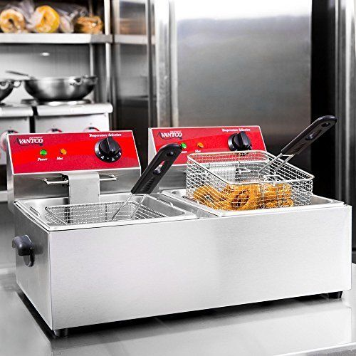 Dual Tank Electric Countertop Fryer 20 Lb 120v 3500w See This