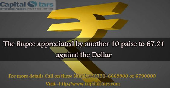 The rupee appreciated by another 10 paise to 67.21 against the dollar in early session at the Interbank Foreign Exchange on Monday on persistent selling by exporters and banks amid increased foreign fund inflows.