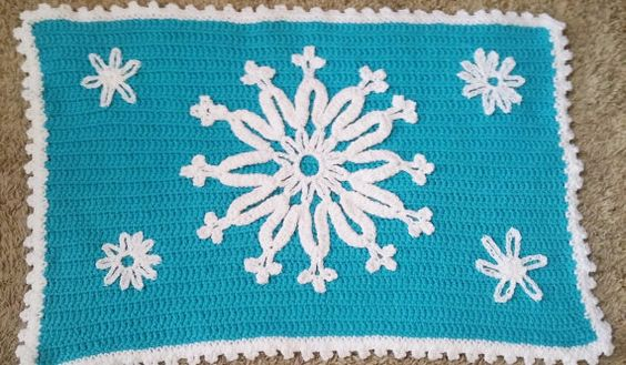 Frozen Rug Crocheted Rug Blue Rug Elsa Rug by TheCreativeMandM
