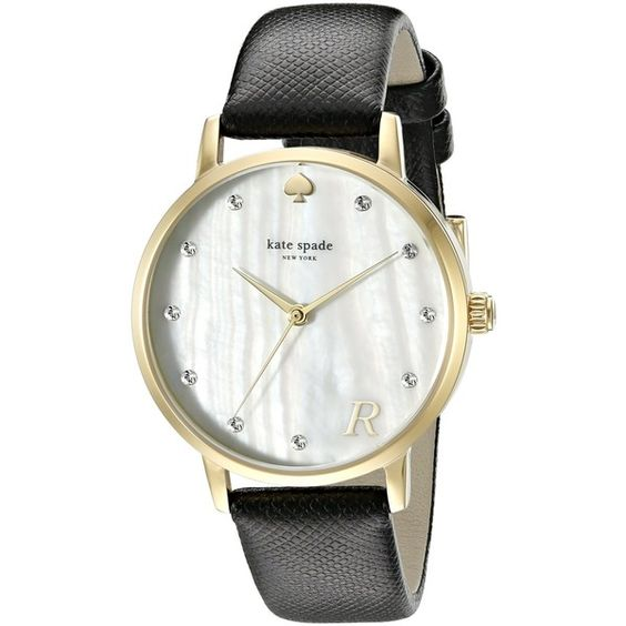 kate spade new york Metro Monogram Analog Display Japanese Quartz... (235 CAD) ❤ liked on Polyvore featuring jewelry, watches, kate spade jewelry, letter jewelry, kate spade, analog watches and dial watches
