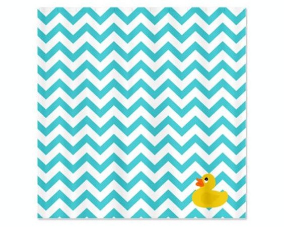 Chevron Blue Ducky Childs Shower Curtain Perfect For