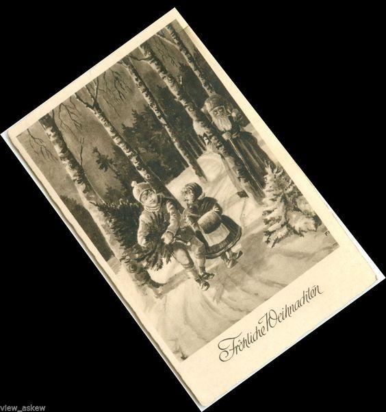 C009 Fröhliche Weihnachten SANTA HIDES BEHIND TREE KIDS CARRY OLD WORLD Postcard #Christmas