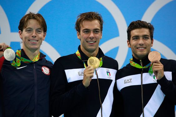 Silver medalist Connor Jaeger of the United States, Gold medalist Gregorio Paltrinieri of Italy and Gabriele Detti of Italy pose on the podium during the medal ceremony for the Men's 1500m Freestyle Final on Day 8 of the Rio 2016 Olympic Games at the Olympic Aquatics Stadium on August 13, 2016 in Rio de Janeiro, Brazil.