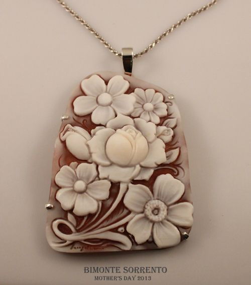 Roses and Flowers Cameo Necklace Bimonte Cameos Coral Sorrento