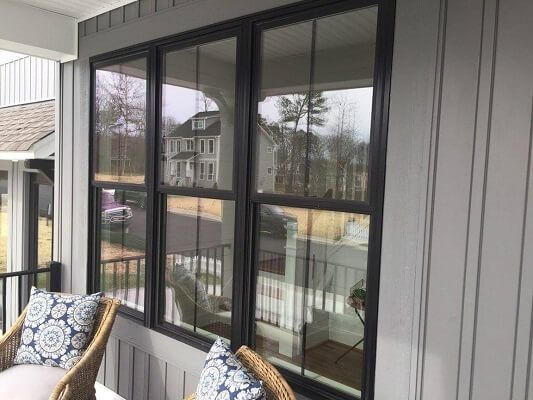 Virginia Home Features Black Fiberglass Double Hung Windows Double Hung Windows Exterior Double Hung Windows Windows Exterior