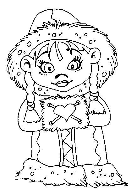 Eskimo winter sketch coloring page for Eskimo coloring page