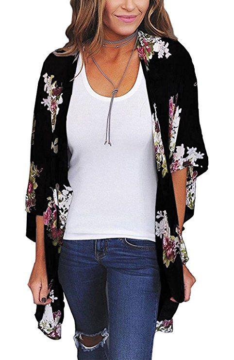 Relipop Women's Sheer Chiffon Blouse Loose Tops Kimono