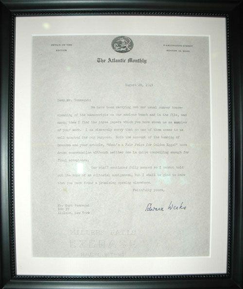 Kurt Vonnegut rejection letter Rejection Letters Pinterest - rejection letter