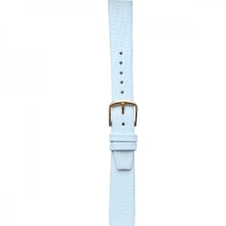 Whimsical Watches Leather #Watchband Large White Skin with Gold Clasp