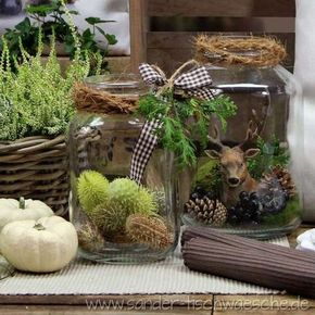 Met Weckpotten Maak Je De Allerleukste Herfst En Winter Decoratie Voor In Huis Veel Leuke Voorbeelden Weckpot Herfst Decor Herfstdecoratie