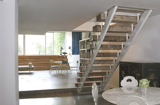 Metal and wood stairs.