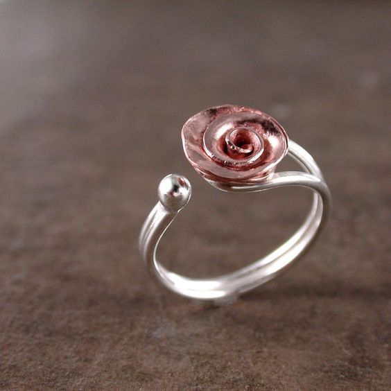 Rose ring Copper Sterling silver