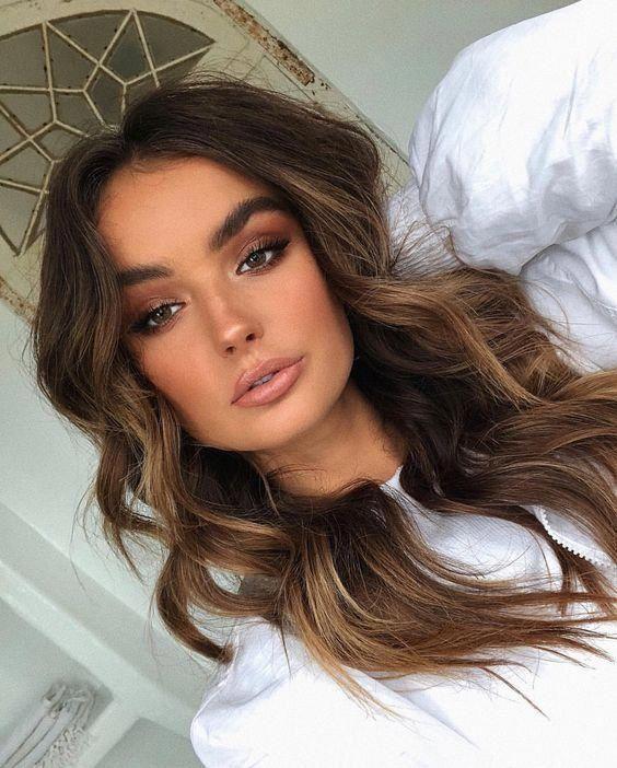 Beauty Make Up Brown Hair Long Hair Brown Eyes White Blouse Curls Curly Hair Eyeshadow Lips Hair Beauty Brown Hair Balayage Brown Blonde Hair