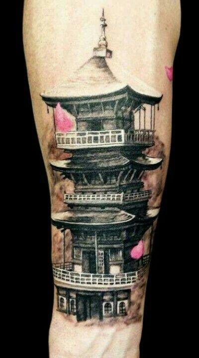 japanese pagoda tattoo tattoos piercings pinterest japanese pagoda and tattoos and body art. Black Bedroom Furniture Sets. Home Design Ideas