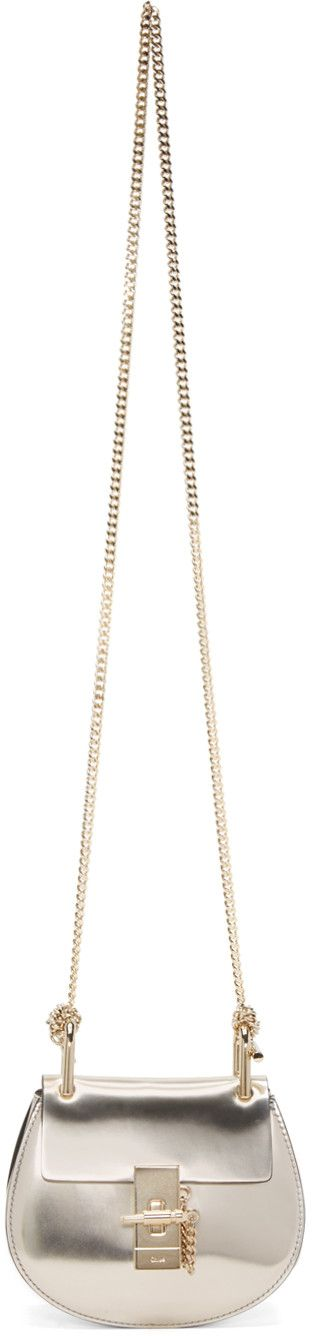 chloe marcie bag small - CHLO�� Gold Metallic Nano Drew Saddle Bag. #chlo�� #bags #shoulder ...