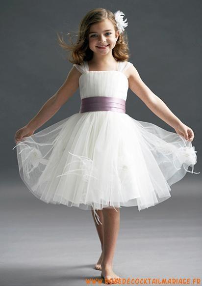 Belle robe de cortège enfant avec ceinture tulle
