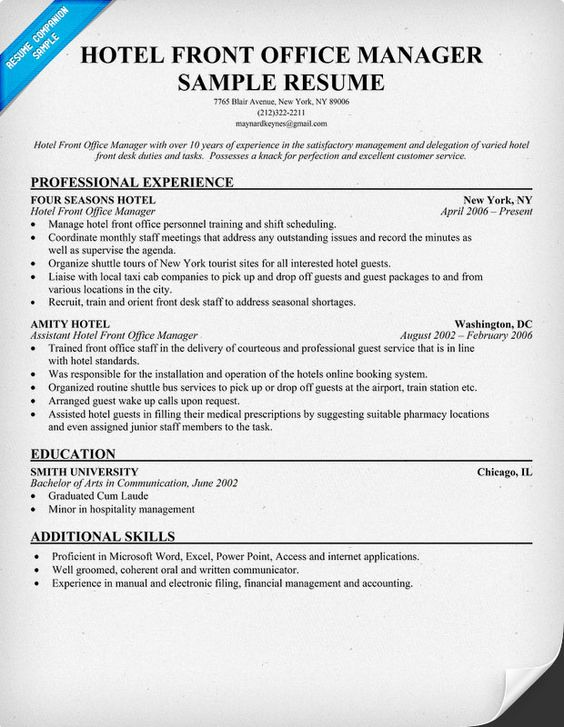 Hotel Front Office Manager Resume Hoteleria Pinterest Front - electronic resume