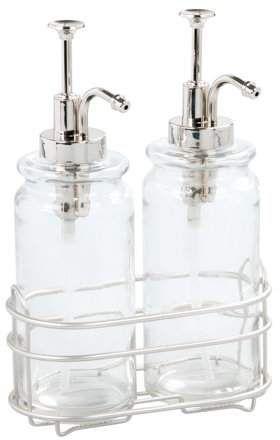 Better Homes Gardens Glass Double Soap Lotion Dispenser Pump Set 3 Piece Walmart Com Kitchen Soap Dispenser Sink Soap Dispenser Glass Soap Dispenser