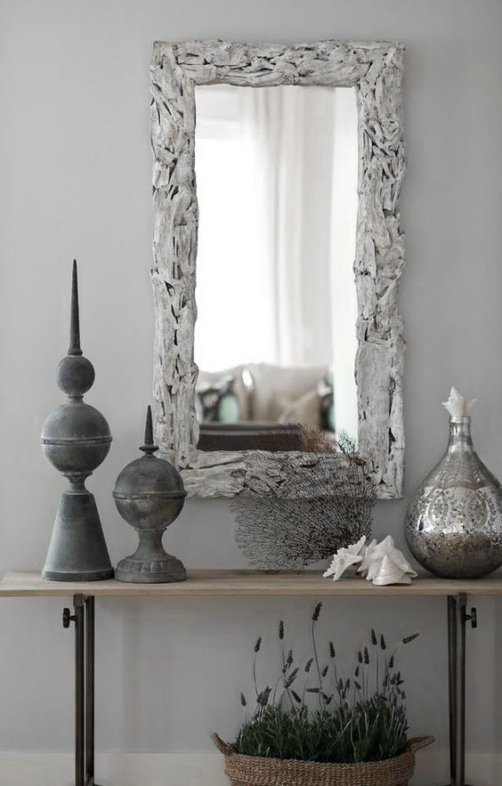 dove gray home decor grey entry hall table and mirror. Black Bedroom Furniture Sets. Home Design Ideas
