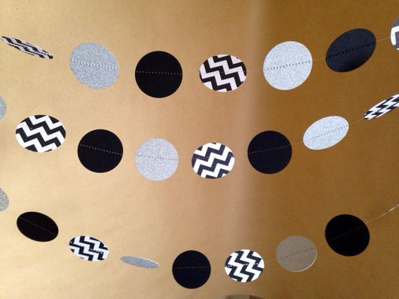 Shimmery Silver, Black and Chevron Paper Garland Party Decor, Photo Prop, NYE Party, Holiday Decor, New Year's Eve decor, 2014 Party Decor