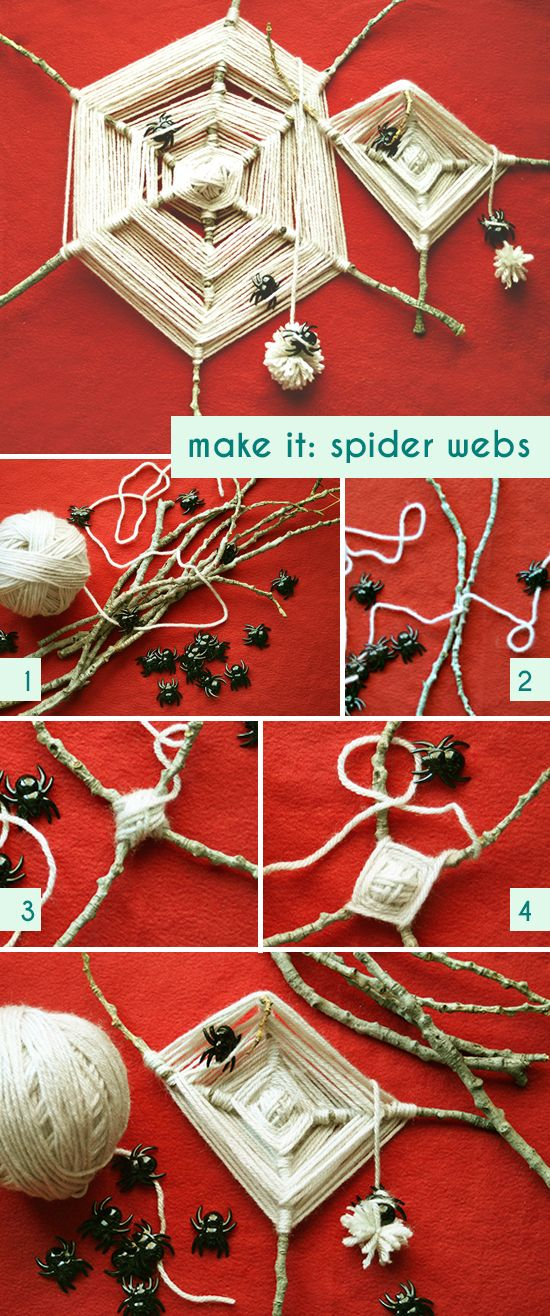 DIY Spider Webs with yarn, sticks, and spiders. Based on traditional God's Eyes. See the #tutorial how-to at http://smallforbig.com/2012/10/halloween-diy-yarn-sticks-spider-webs.html #crafts #diy #kids #halloween