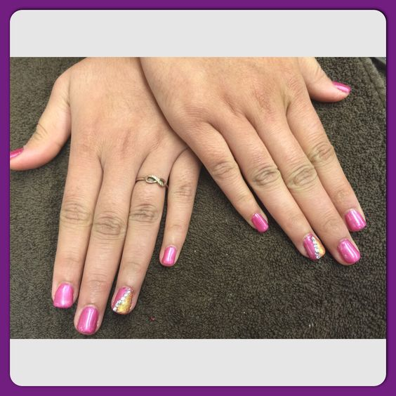 Fuchsia acrylic with clear tips and flakes   My Nail Creations ...